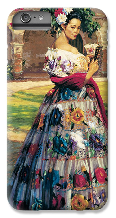 Woman Elaborately Embroidered Mexican Dress. Background Mission San Juan Capistrano. IPhone 6 Plus Case featuring the painting Al Aire Libre by Jean Hildebrant