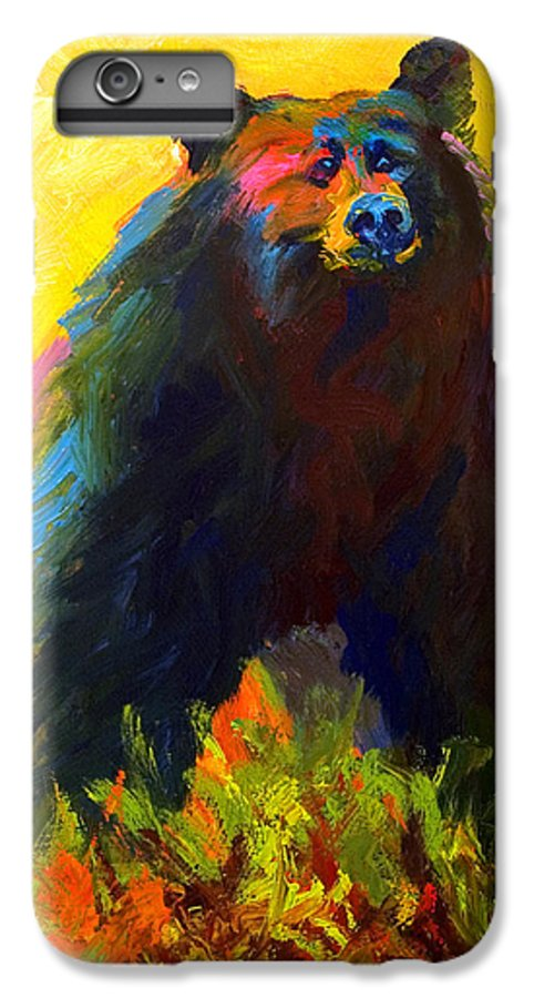 Western IPhone 6 Plus Case featuring the painting Alert - Black Bear by Marion Rose