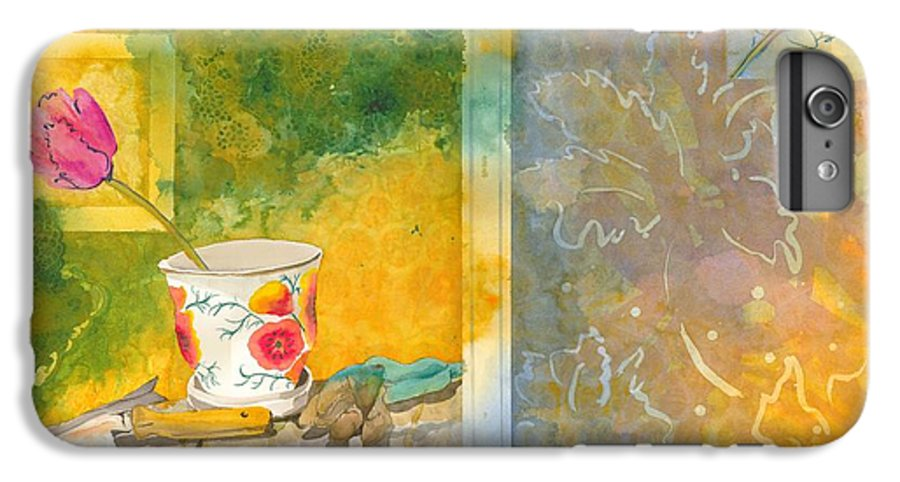 Garden IPhone 6 Plus Case featuring the painting Along The Garden Wall by Jean Blackmer