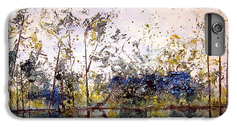 Abstract IPhone 6 Plus Case featuring the painting Along The River Bank by Ruth Palmer
