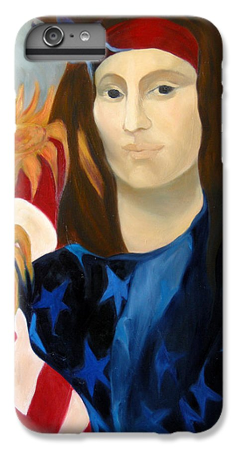 Figurative IPhone 6 Plus Case featuring the painting American Jokonda by Antoaneta Melnikova- Hillman