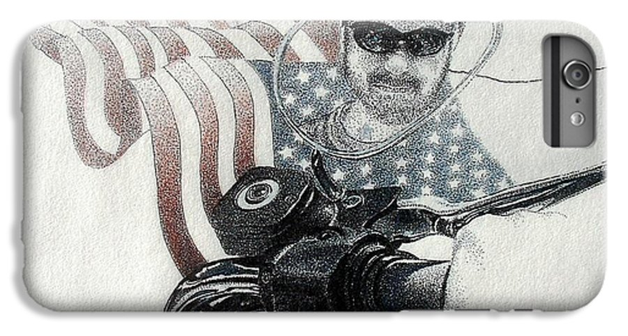 Motorcycles Harley American Flag Cycles Biker IPhone 6 Plus Case featuring the drawing American Rider by Tony Ruggiero