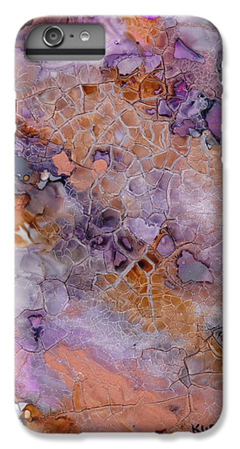 Abstract IPhone 6 Plus Case featuring the mixed media Amethyst And Copper by Susan Kubes