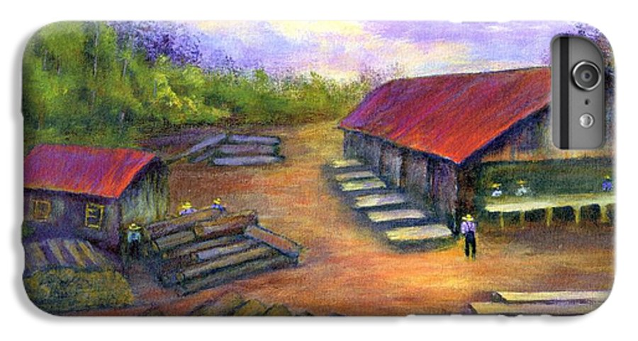 Amish IPhone 6 Plus Case featuring the painting Amish Lumbermill by Gail Kirtz