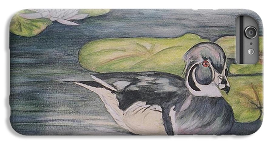 Wood Duck IPhone 6 Plus Case featuring the painting Among The Lillypads by Debra Sandstrom