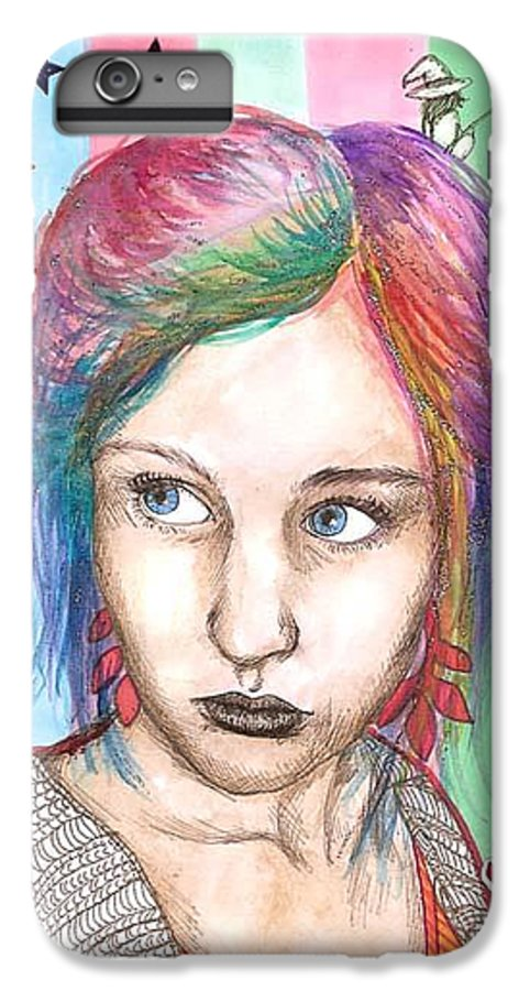 Stars IPhone 6 Plus Case featuring the drawing Anne Sofie by Freja Friborg