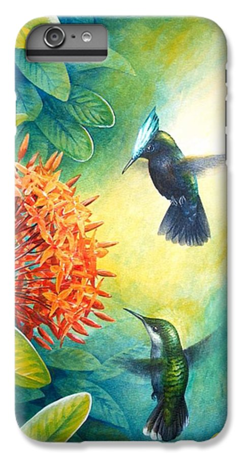 Chris Cox IPhone 6 Plus Case featuring the painting Antillean Crested Hummingbirds And Ixora by Christopher Cox