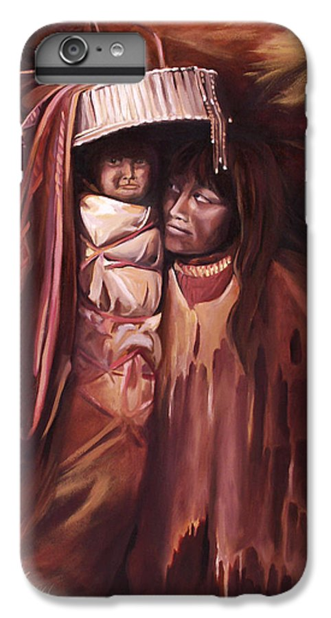 Native American IPhone 6 Plus Case featuring the painting Apache Girl And Papoose by Nancy Griswold