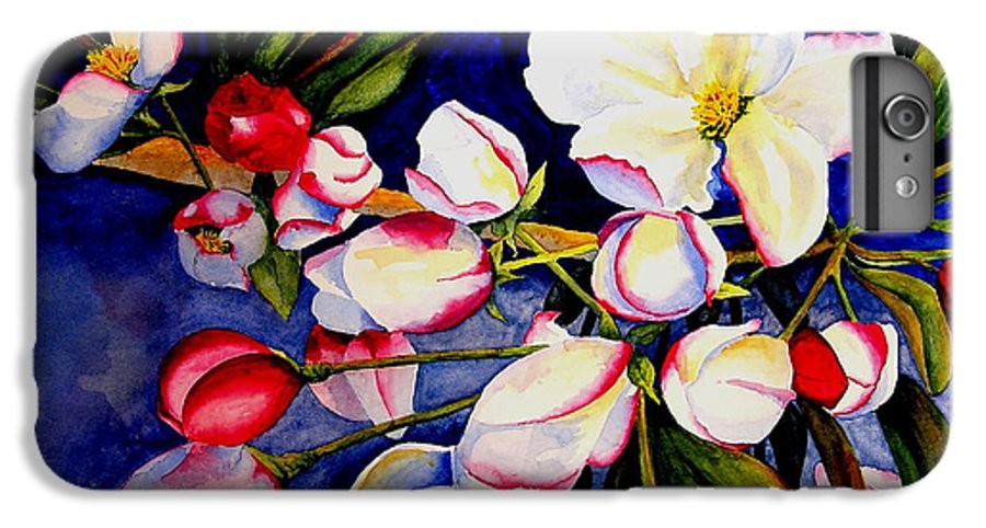 Apple Blossoms IPhone 6 Plus Case featuring the painting Apple Blossom Time by Karen Stark