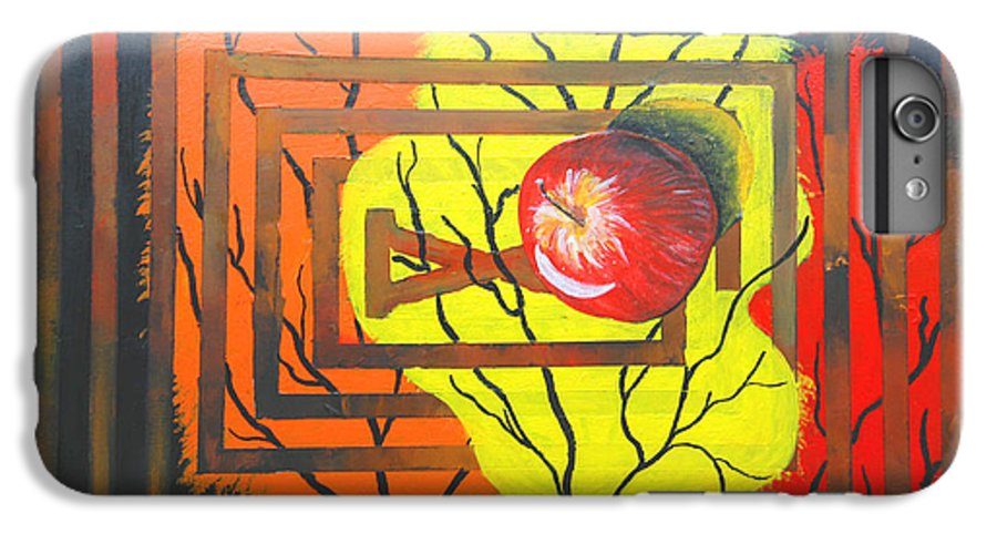 Abstract IPhone 6 Plus Case featuring the painting Apple by Olga Alexeeva