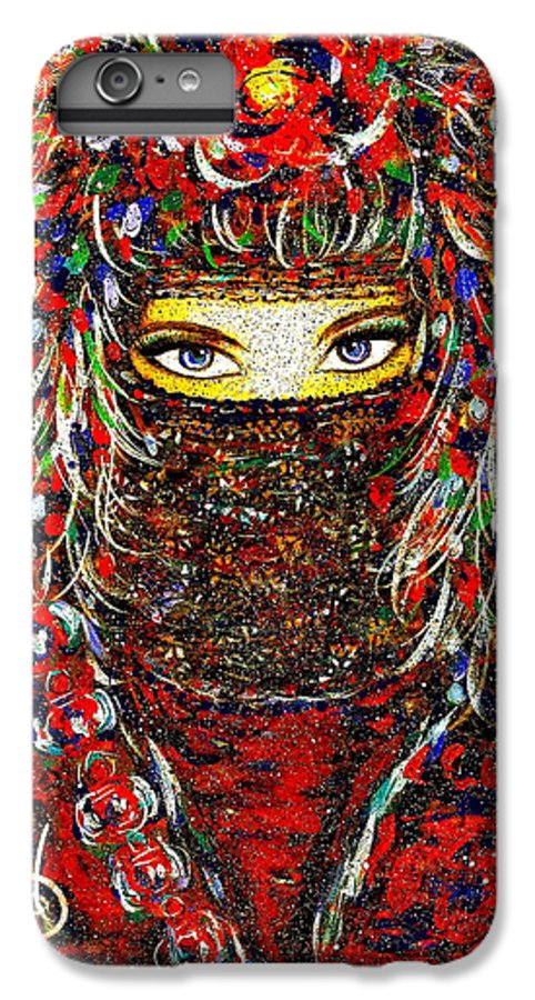 Woman IPhone 6 Plus Case featuring the painting Arabian Eyes by Natalie Holland