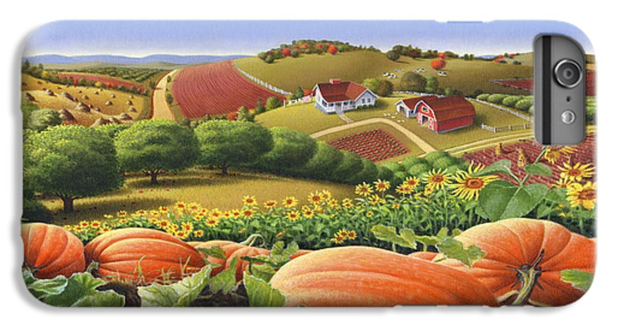 Pumpkin IPhone 6 Plus Case featuring the painting Farm Landscape - Autumn Rural Country Pumpkins Folk Art - Appalachian Americana - Fall Pumpkin Patch by Walt Curlee