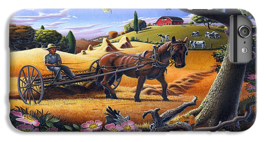 Raking Hay IPhone 6 Plus Case featuring the painting Raking Hay Field Rustic Country Farm Folk Art Landscape by Walt Curlee