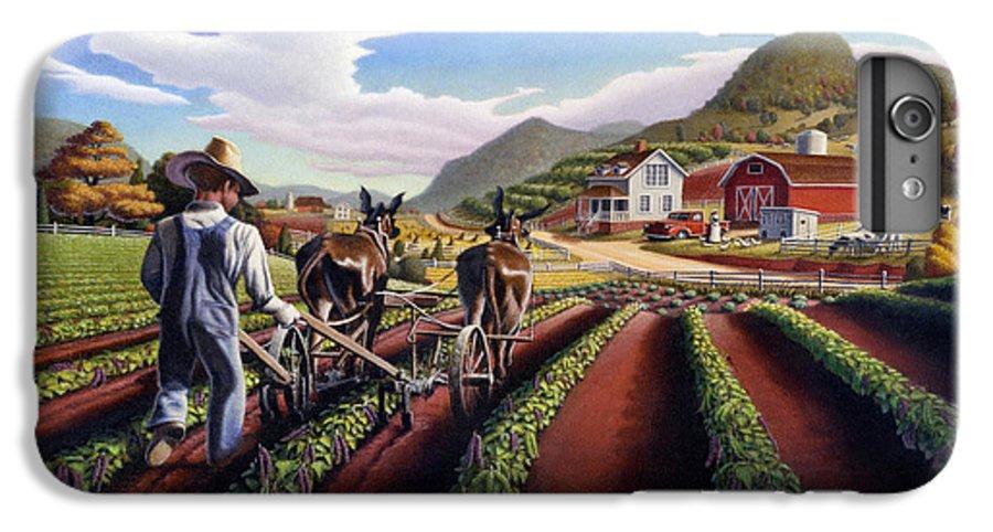 Appalachian IPhone 6 Plus Case featuring the painting Appalachian Folk Art Summer Farmer Cultivating Peas Farm Farming Landscape Appalachia Americana by Walt Curlee