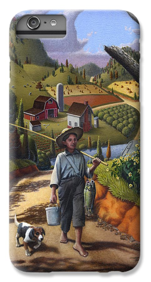 Boy And Dog IPhone 6 Plus Case featuring the painting Boy And Dog Farm Landscape - Flashback - Childhood Memories - Americana - Painting - Walt Curlee by Walt Curlee