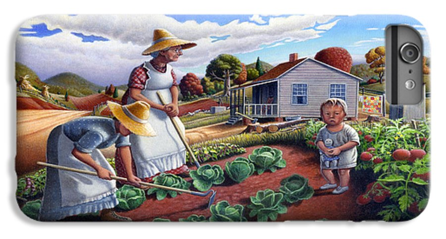 Farm Family IPhone 6 Plus Case featuring the painting Family Vegetable Garden Farm Landscape - Gardening - Childhood Memories - Flashback - Homestead by Walt Curlee