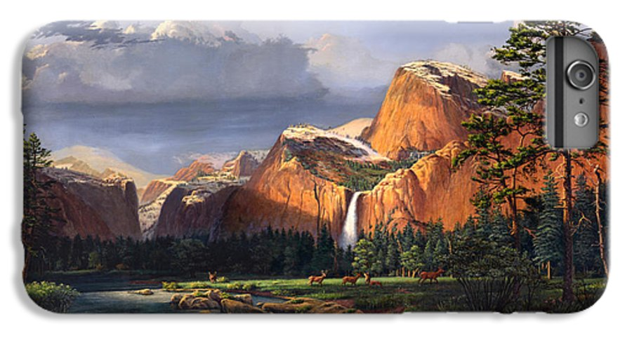 American IPhone 6 Plus Case featuring the painting Deer Meadow Mountains Western Stream Deer Waterfall Landscape Oil Painting Stormy Sky Snow Scene by Walt Curlee