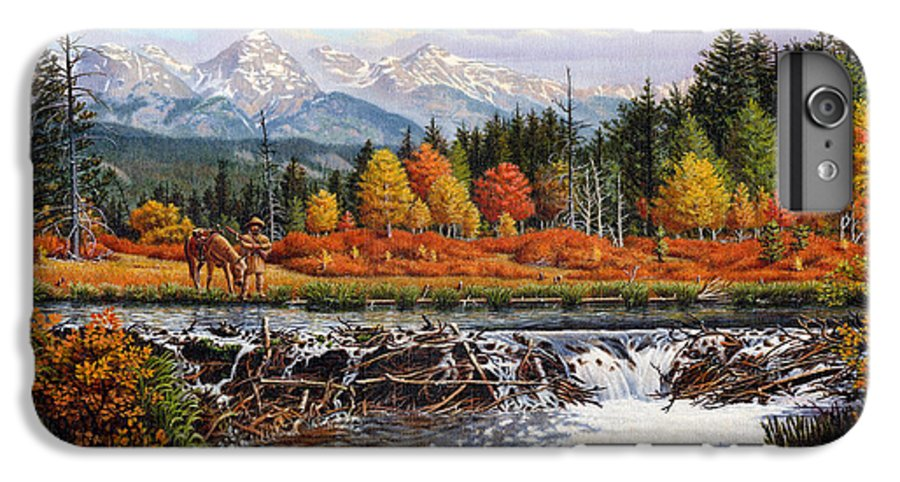 Western Mountain Landscape IPhone 6 Plus Case featuring the painting Western Mountain Landscape Autumn Mountain Man Trapper Beaver Dam Frontier Americana Oil Painting by Walt Curlee