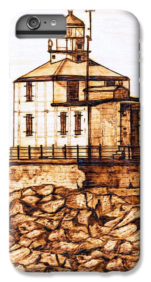 Lighthouse IPhone 6 Plus Case featuring the pyrography Ashtabula Harbor by Danette Smith