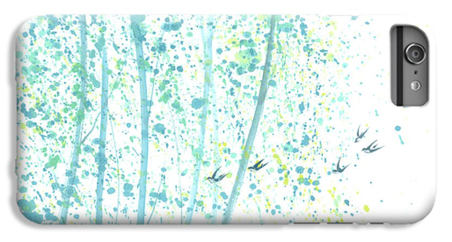 Birds Flying Through An Aspen Forest. This Is A Contemporary Chinese Ink And Color On Rice Paper Painting With Simple Zen Style Brush Strokes. IPhone 6 Plus Case featuring the painting Aspen Forest by Mui-Joo Wee