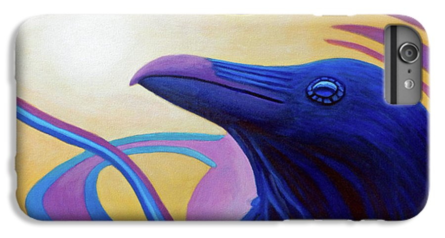 Raven IPhone 6 Plus Case featuring the painting Astral Raven by Brian Commerford