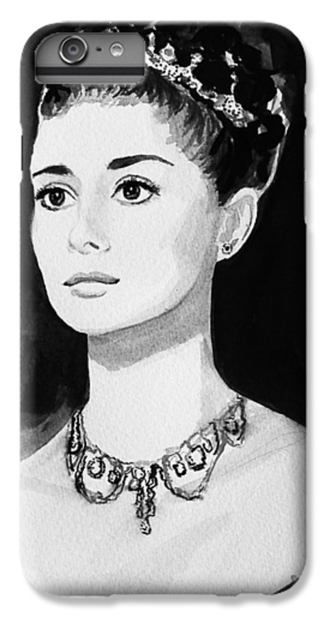 Audrey Hepburn IPhone 6 Plus Case featuring the painting Audrey by Laura Rispoli