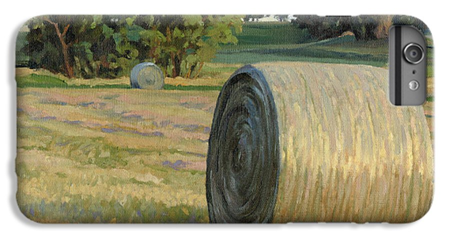 Landscape IPhone 6 Plus Case featuring the painting August Bales by Bruce Morrison