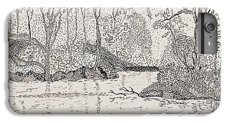 River IPhone 6 Plus Case featuring the drawing Ausable River At Rock Glen by Peggy King