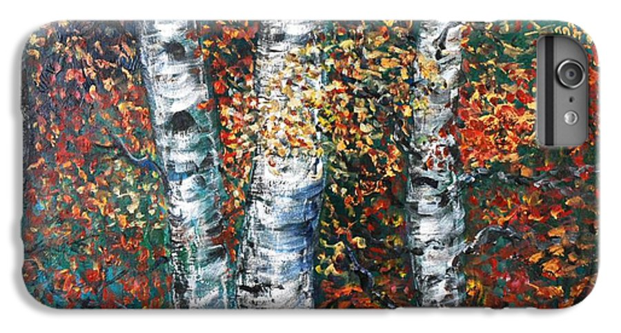 Birch IPhone 6 Plus Case featuring the painting Autumn Birch by Nadine Rippelmeyer