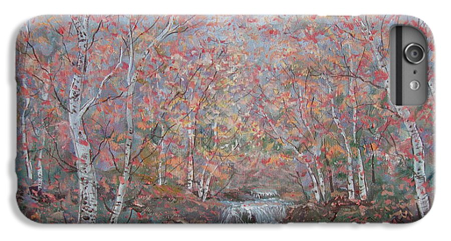 Landscape IPhone 6 Plus Case featuring the painting Autumn Birch Trees. by Leonard Holland