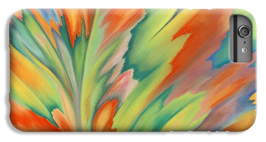 Abstract IPhone 6 Plus Case featuring the painting Autumn Flame by Lucy Arnold