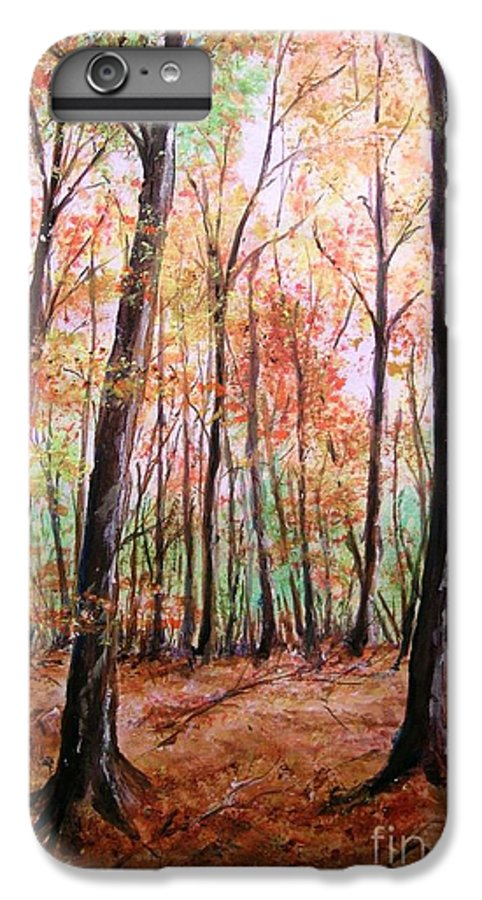 Landscape IPhone 6 Plus Case featuring the painting Autumn Forrest by Lizzy Forrester