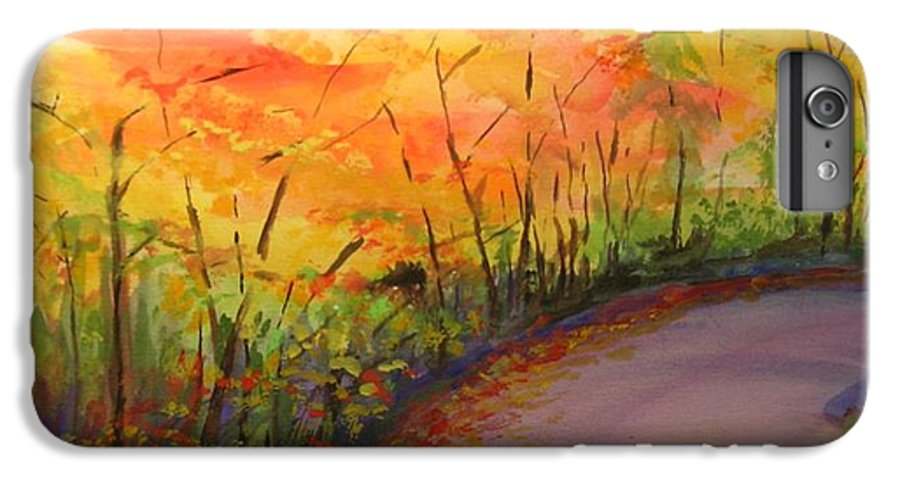 Original Landscape Impressionist Painting IPhone 6 Plus Case featuring the painting Autumn Lane IIi by Lizzy Forrester