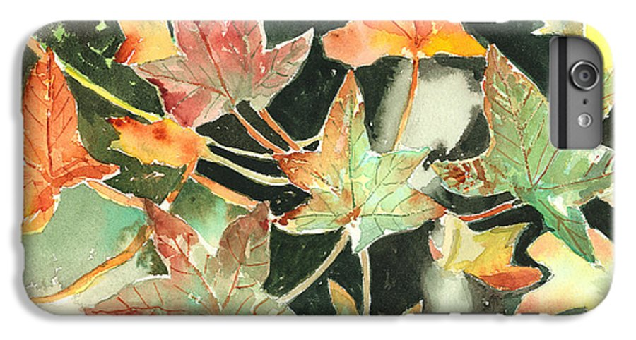Leaf IPhone 6 Plus Case featuring the painting Autumn Leaves by Arline Wagner