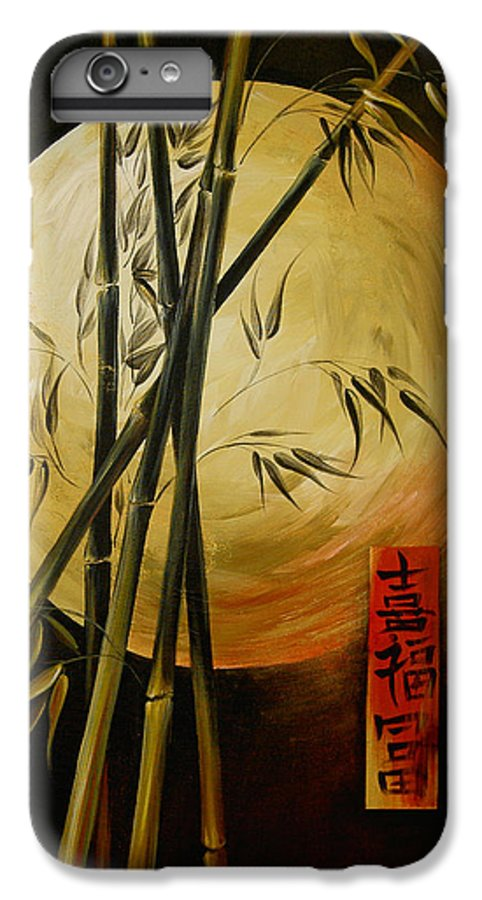 Asian Moon Bamboo IPhone 6 Plus Case featuring the painting Autumn Moon by Dina Dargo