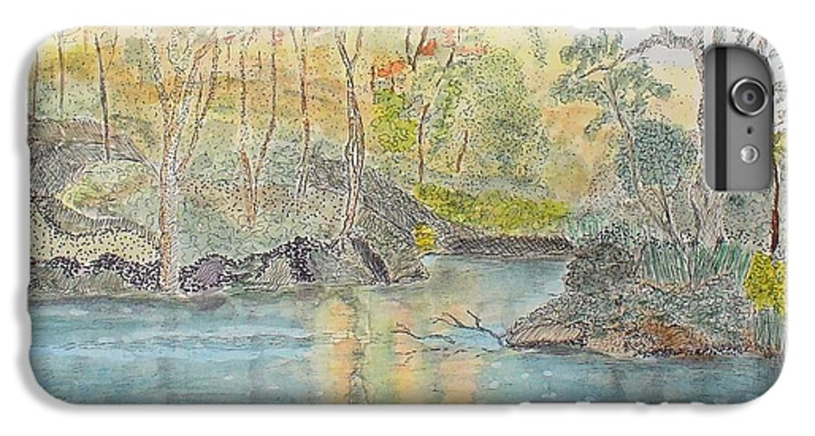 Watercolour IPhone 6 Plus Case featuring the painting Autumn On The Ausable River by Peggy King