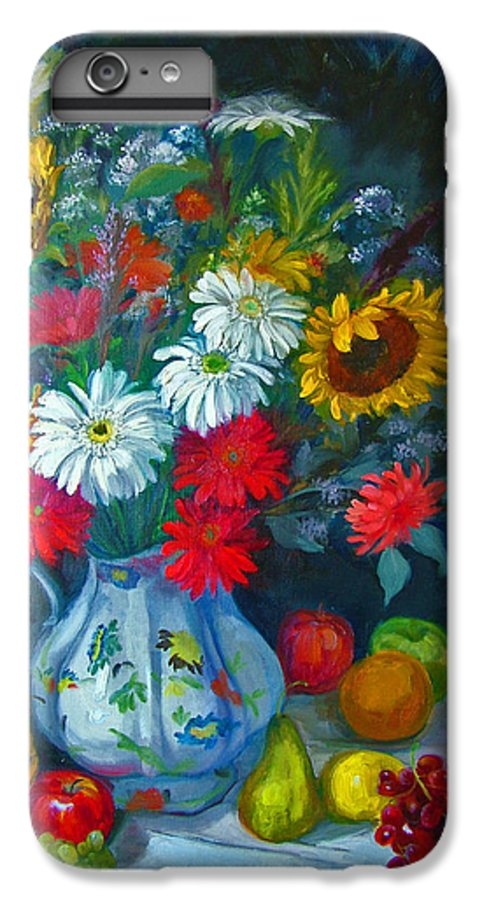 Fruit And Many Colored Flowers In Masson Ironstone Pitcher. A Large Still Life. IPhone 6 Plus Case featuring the painting Autumn Picnic by Nancy Paris Pruden