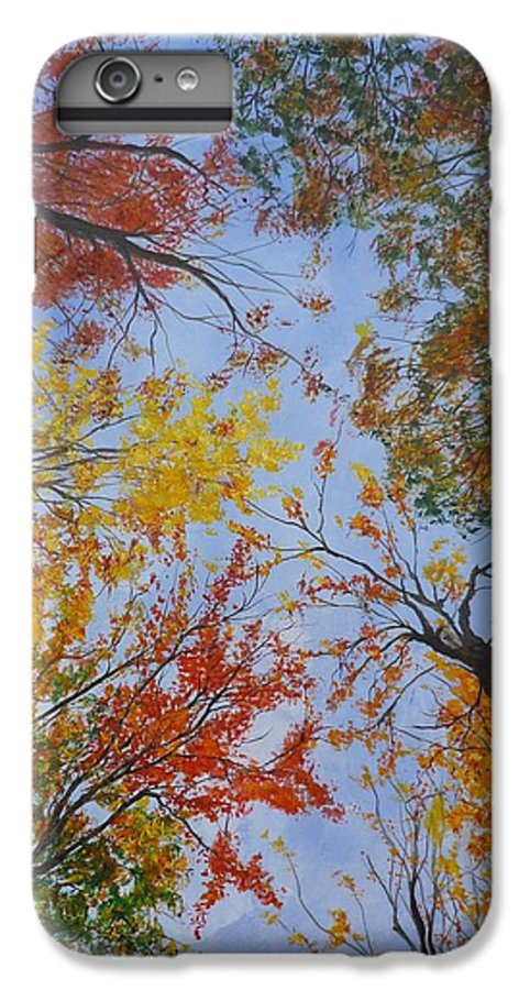Tree IPhone 6 Plus Case featuring the painting Autumn Sky by Lizzy Forrester