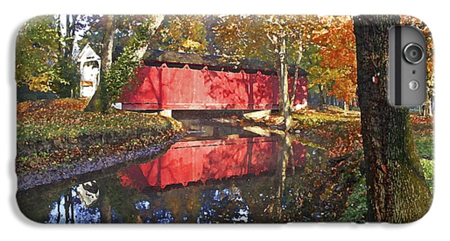 Covered Bridge IPhone 6 Plus Case featuring the photograph Autumn Sunrise Bridge by Margie Wildblood