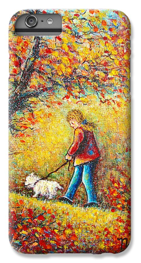 Landscape IPhone 6 Plus Case featuring the painting Autumn Walk by Natalie Holland