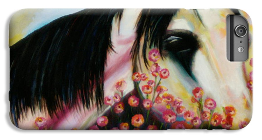 Horse IPhone 6 Plus Case featuring the painting Avalon's Rose by Sidra Myers