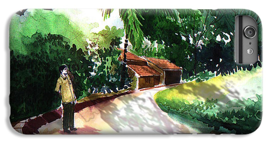 Water Color Watercolor Landscape Greenery IPhone 6 Plus Case featuring the painting Awe by Anil Nene
