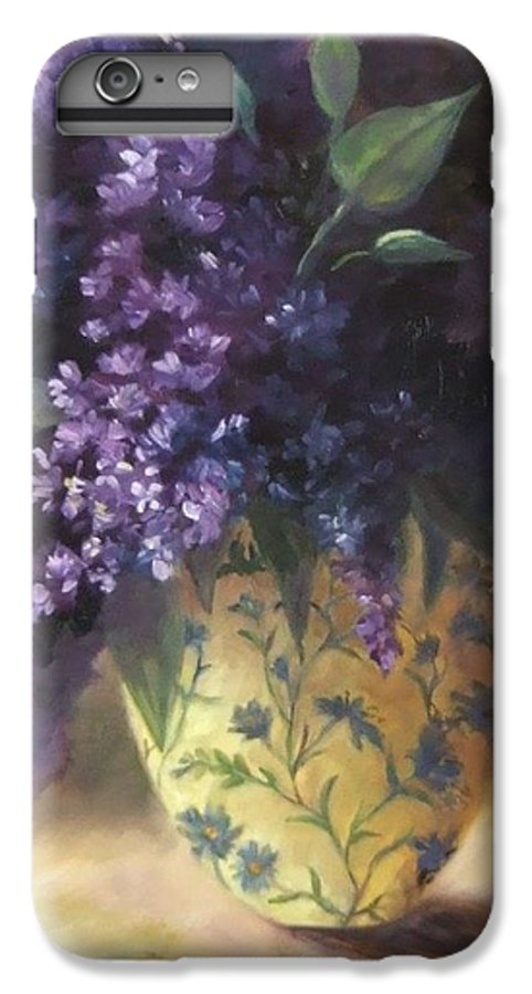 Lilac Still Life IPhone 6 Plus Case featuring the painting Backlit Bouquet by Ruth Stromswold