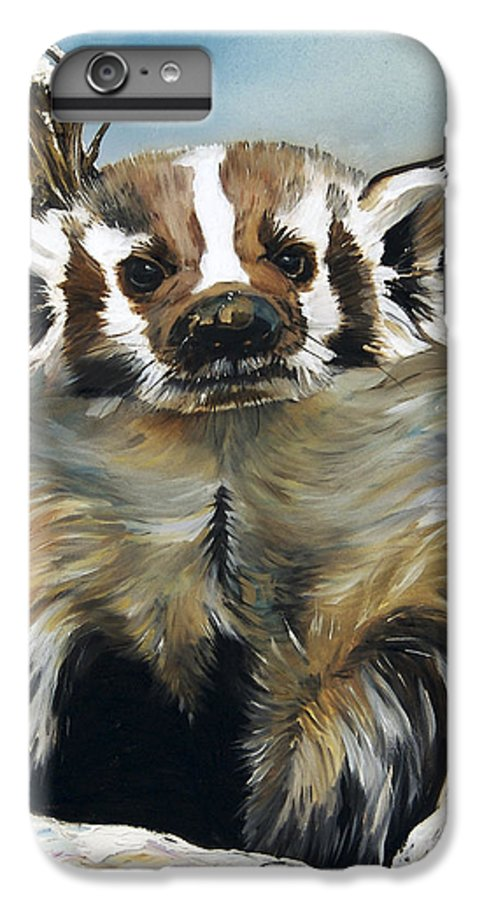 Southwest Art IPhone 6 Plus Case featuring the painting Badger - Guardian Of The South by J W Baker