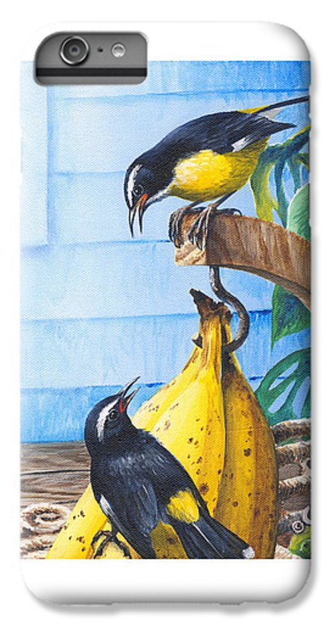 Chris Cox IPhone 6 Plus Case featuring the painting Bananaquits And Bananas by Christopher Cox
