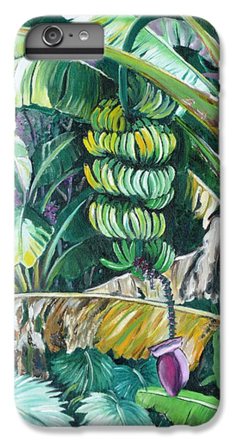 Caribbean Painting Bananas Trees P Painting Fruit Painting Tropical Painting IPhone 6 Plus Case featuring the painting Bananas by Karin Dawn Kelshall- Best