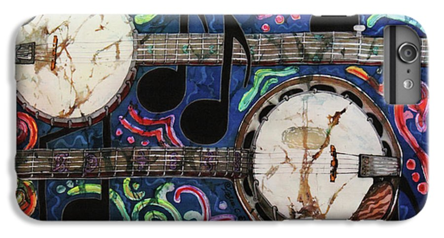 Banjo IPhone 6 Plus Case featuring the painting Banjos by Sue Duda
