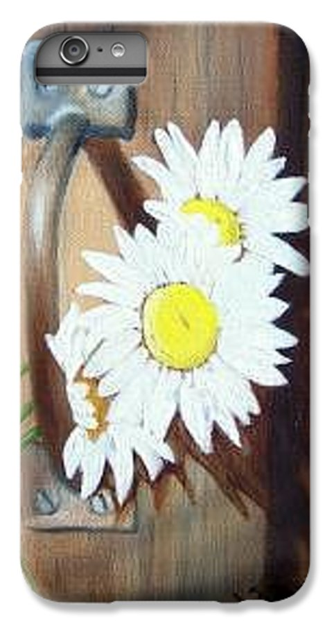 Rustic Barn Door With Metal Latch And Three White Daisies IPhone 6 Plus Case featuring the painting Barn Door Daisies Sold by Susan Dehlinger