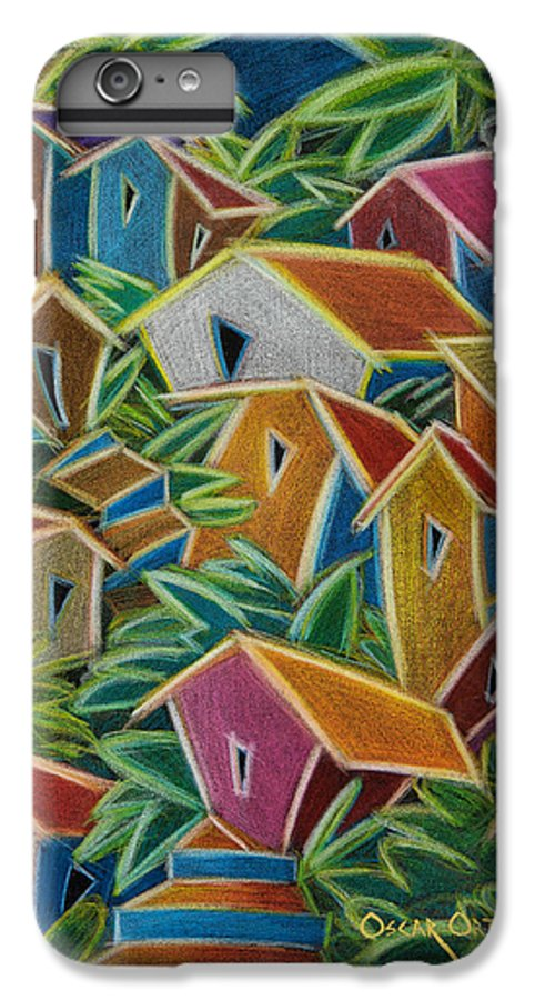Landscape IPhone 6 Plus Case featuring the painting Barrio Lindo by Oscar Ortiz