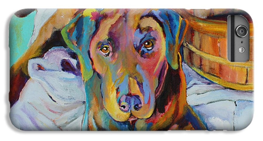 Chocolate Lab IPhone 6 Plus Case featuring the painting Basket Retriever by Pat Saunders-White